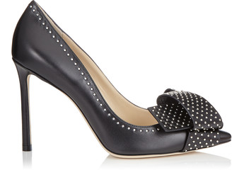 Jimmy Choo TEGAN 100 Black Kid Leather Pointy Toe Pumps with Studded Bow Detailing