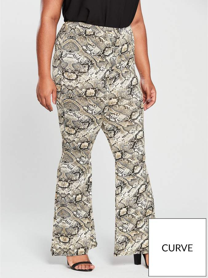 V By Very Curve Snake Kickflare Trouser - Printed
