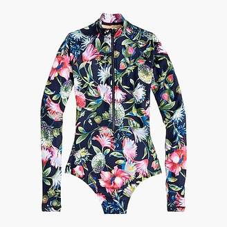 J.Crew Zip-up long sleeve swimsuit in floral