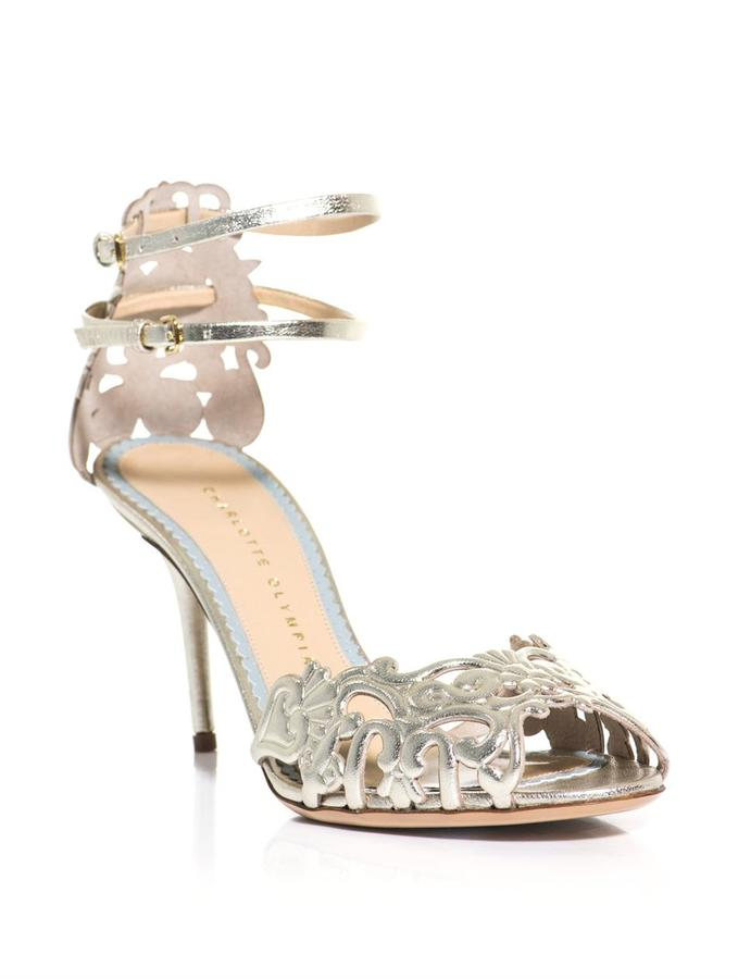 Charlotte Olympia Margherita metallic leather sandals