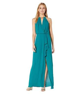 BCBGMAXAZRIA Halter Gown with Metallic Braided Detail