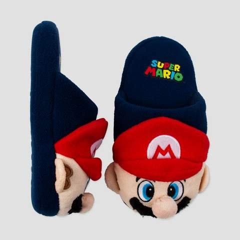 Super Mario Boys' Super Mario Slipper Socks - Blue