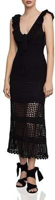 BCBGMAXAZRIA Flounced Crochet Midi Dress