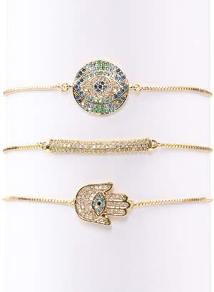 Eye Candy Los Angeles Eye Candy La Cici Evil Eye Hamsa Cz Crystal Bracelet Set