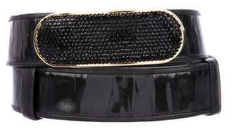 Judith Leiber Swarovski Embellished Patent Leather Belt