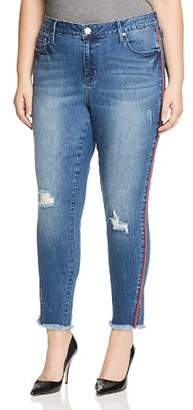 Seven7 Jeans Plus Piped-Trim Raw-Hem Ankle Jeans in Reeves