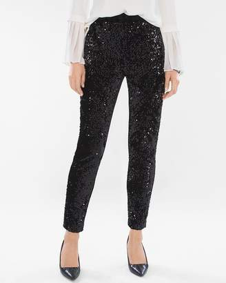 Chico's Chicos Sequined and Panne Tapered Ankle Pants