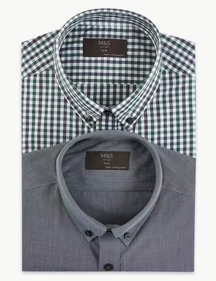 Marks and Spencer 2 Pack Cotton Blend Slim Fit Shirts