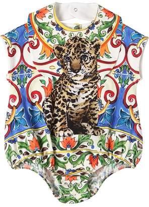 Dolce & Gabbana Maiolica & Leopard Jersey Bodysuit & Bib