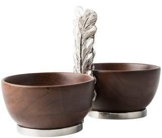 Juliska Merriam Two-Bowl Acacia Wood Server