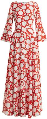 REBECCA DE RAVENEL Lola polka-dot print bell-sleeved dress