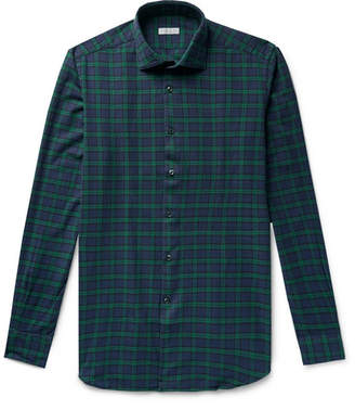 Incotex Ween Slim-Fit Cutaway-Collar Checked Cotton-Flannel Shirt