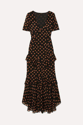 De La Vali Juliette Ruffled Polka-dot Chiffon Maxi Dress
