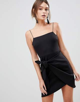 Asos Wrap Front Bow Scuba Mini Dress