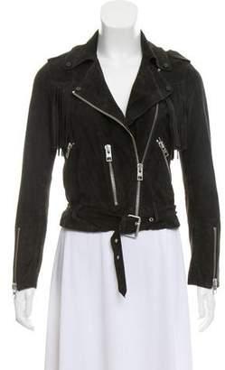 AllSaints Leather Fringe-Accented Jacket