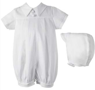 Haddad Brothers Christening Baptism Newborn Baby Boy Special Occasion Cotton Short Romper & Matching Hat