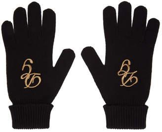 Dolce & Gabbana Black Cashmere Logo Gloves