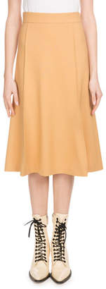 Chloé Mid-Calf A-Line Side-Zip Stretch-Wool Skirt