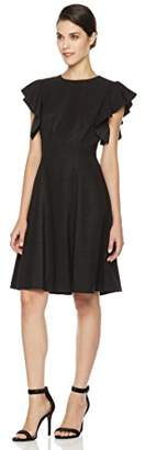 Social Graces Women's Crew Neck Flutter Short Sleeve Fit and Flare Dress 6