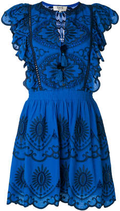 Sea embroidered ruffled dress