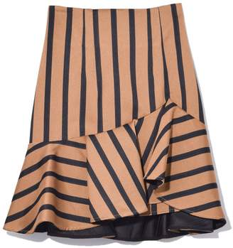 Schumacher Dorothee Structured Stripes High Waisted Skirt in Camel Black Stripes