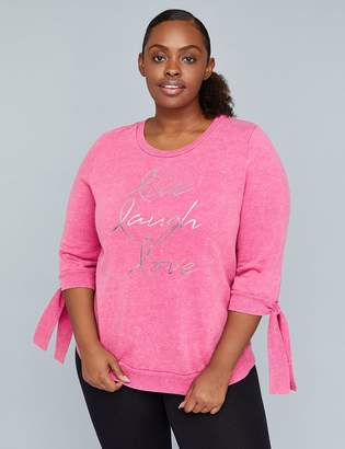 Lane Bryant Live, Laugh, Love Graphic Tie-Sleeve Active Sweatshirt