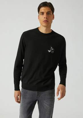 Emporio Armani Fancy Collection Plain Knit Jumper In Pure Virgin Wool