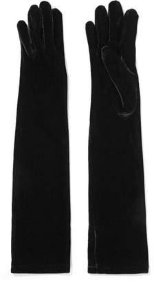 Agnelle Stretch-velvet Gloves - Black