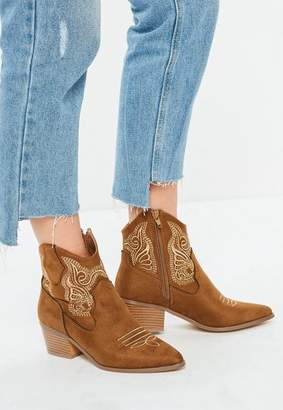 Missguided Tan Embroidered Western Boots
