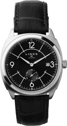 58c4cd453 Links of London Brompton Men's Stainless Steel & Black Leather Watch With  Black Dial