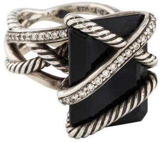 David Yurman Large Onyx & Diamond Cable Wrap Ring