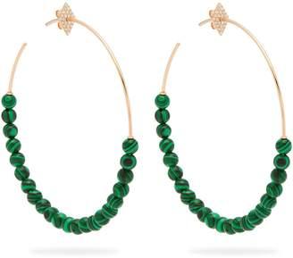 Diane Kordas 18kt gold malachite and diamond hoop earrings