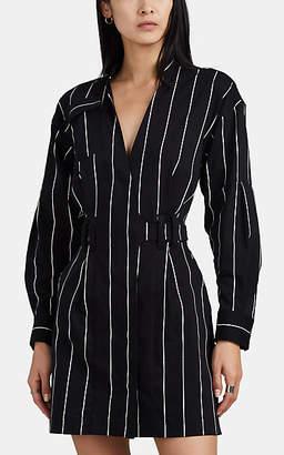 Derek Lam 10 Crosby Women's Striped Stretch-Cotton Wrap Dress - Black
