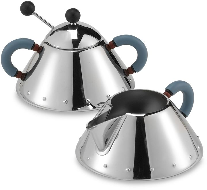 Alessi Michael Graves Stainless Steel Sugar Bowl and Creamer