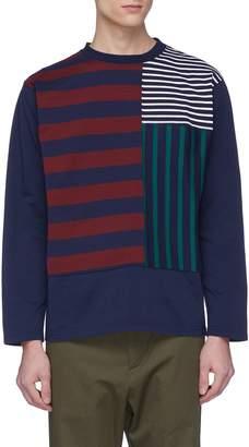 Nanamica 'Crazy' mix stripe panel long sleeve T-shirt