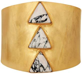 Carousel Jewels - Adjustable Gold Cuff With Howlite Triangles