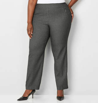 Avenue Grey Plaid Zip Pocket Pull-On Pant