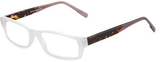 A. J. Morgan Now Two-Tone Rectangular Acetate Readers, Crystal White/Tortoise $36 thestylecure.com