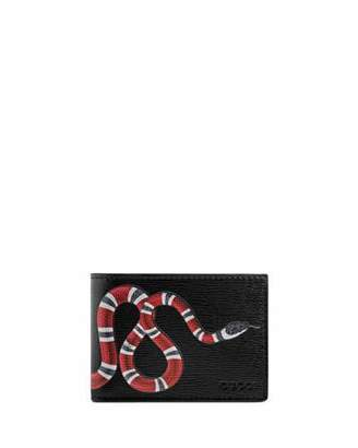 Gucci Bestiary Snake-Print Leather Wallet, Black $350 thestylecure.com