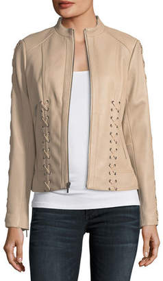 Neiman Marcus Leather Collection Lace-Up Leather Moto Jacket