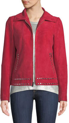 Neiman Marcus Leather Collection Studded Jacket in Suede