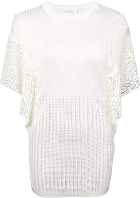 Chloé rib knit sheer lace top