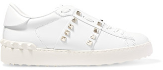 Valentino - Rockstud Untitled Leather Sneakers - White $795 thestylecure.com