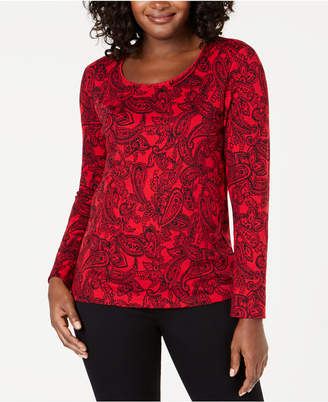 Karen Scott Paisley-Print Long-Sleeve Top