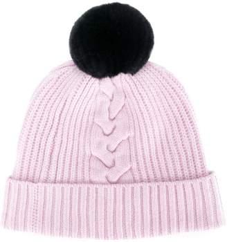 N.Peal bobble beanie hat