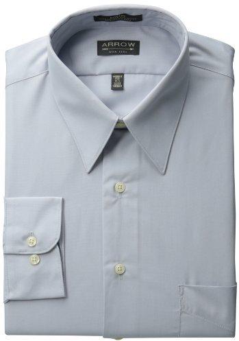 Arrow Men's Wrinkle Free Poplin Solid Long Sleeve Shirt