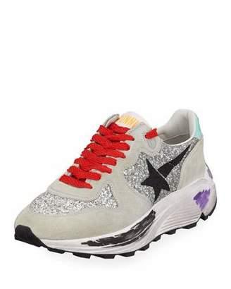 Golden Goose Glitter & Suede Running Sneakers