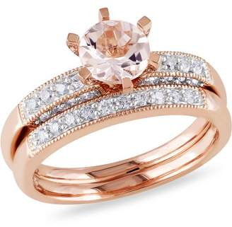 Tangelo 4/5 Carat T.G.W. Morganite and 1/3 Carat T.W. Diamond 10kt Pink Gold Bridal Set
