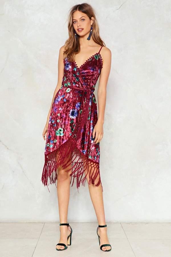 nastygal Feelin Myself Velvet Wrap Dress