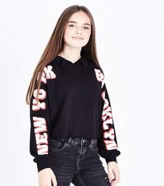 New Look Teens Black New York Brooklyn Slogan Sleeve Hoodie